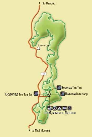 map of Khao Lak - Lamru national park