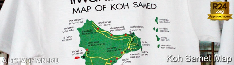 Koh Samet Map, Koh Samed on Thailand Maps